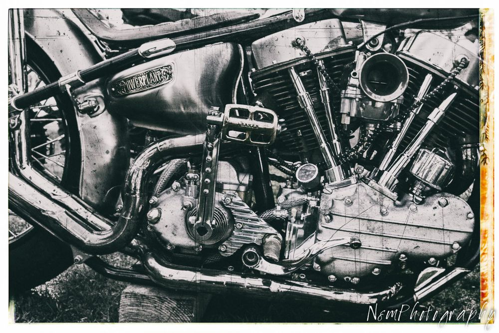 Old Harley Knucklehead motor poster collectible HD motorcycle engine picture