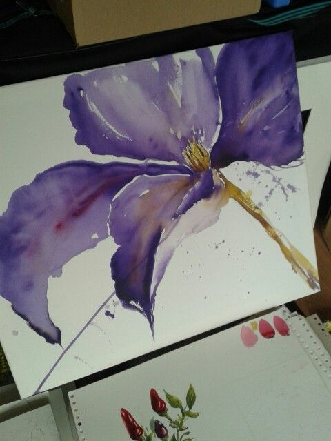 Watercolour clematis flower on canvas