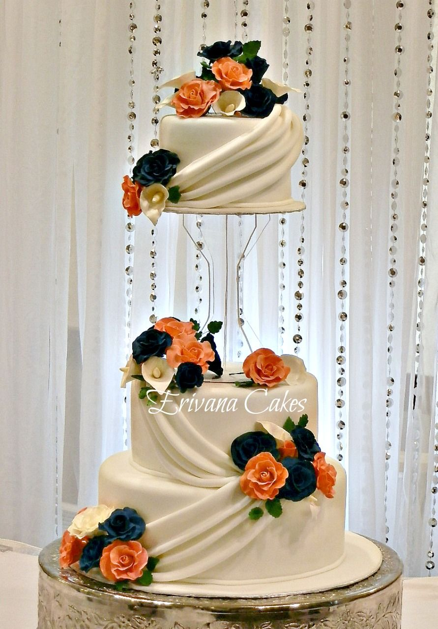 navy wedding cake flowers i don t if the wavy part is legit cake but really 17789