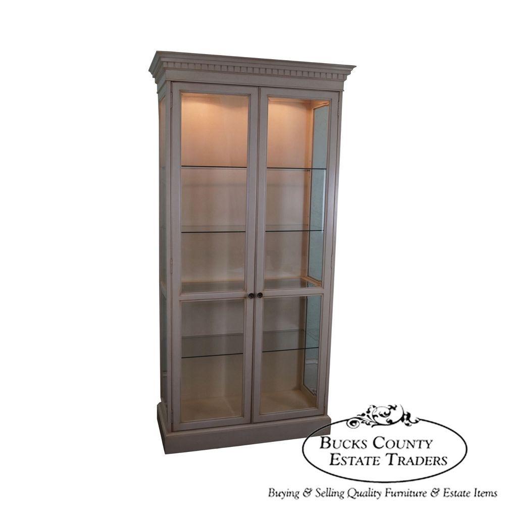 Widdicomb Tall Painted 2 Door Lighted Curio Display Cabinet Display Cabinet Cabinet Antique Cabinets