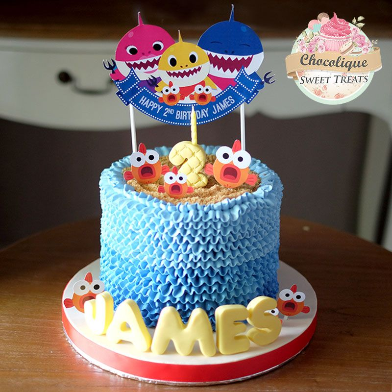 Baby Shark Buttercream Cake For James With Images Baby