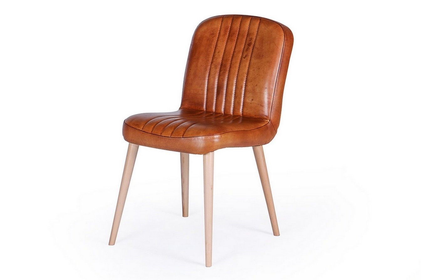 Retro Stuhl Leder Cognac Stühle Sitzgelegenheiten