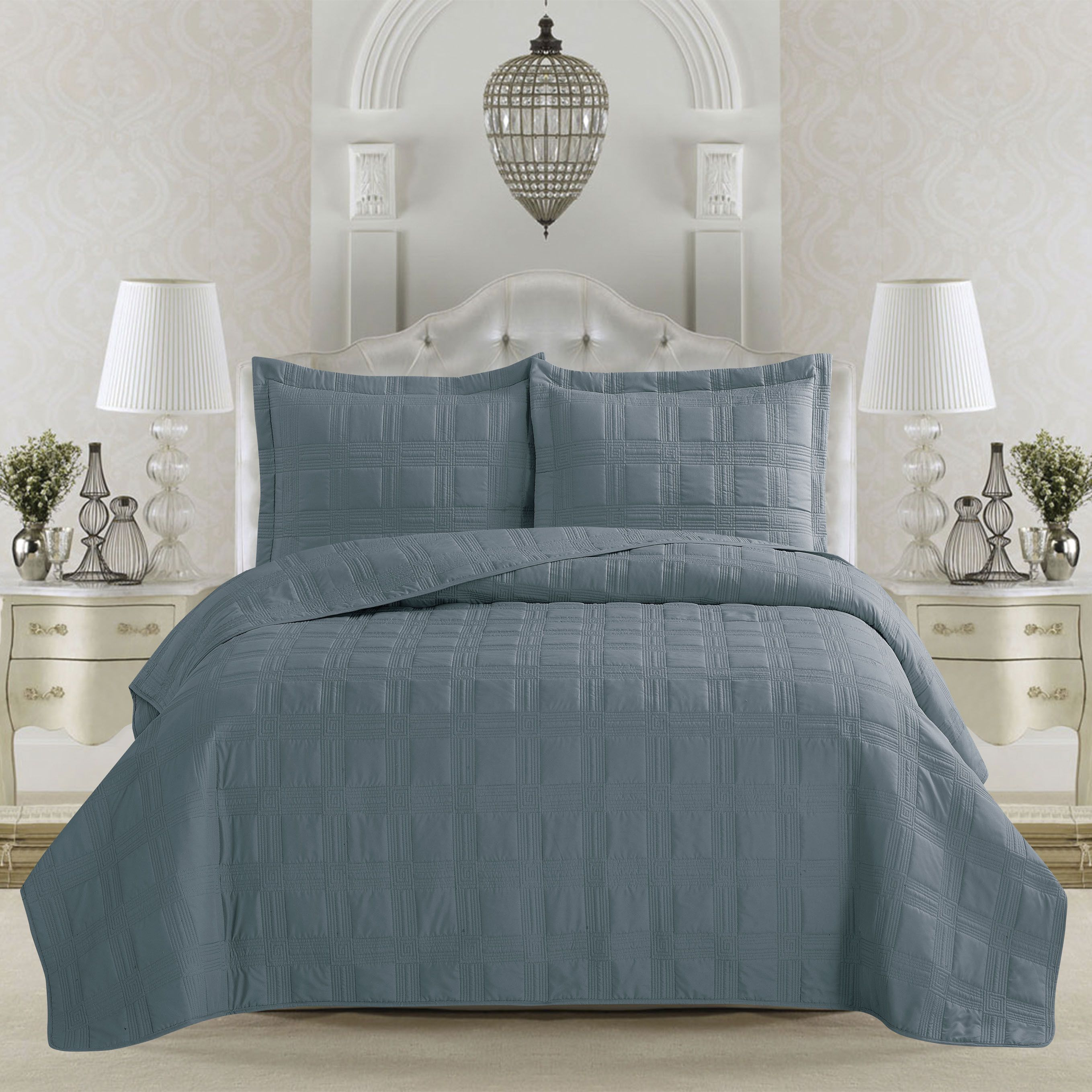 Terra Collection Embroidered 3 piece Quilt Set