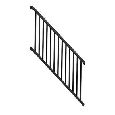 Weatherables Classic Square 36 in. x 72 in. Textured Black Aluminum Stair Railing Kit-WBR-J36-A6S - The Home Depot