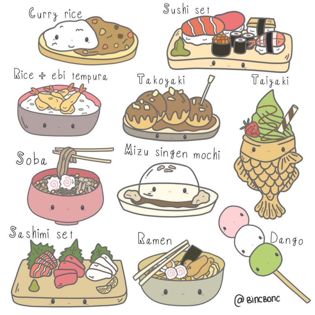 1 Set Of Kawaii Food Clipart Japanese Food Dessert Junk Food