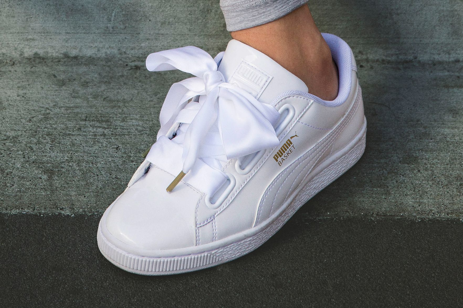 The All New PUMA Basket Heart Is Topped With a Satin Bow | i