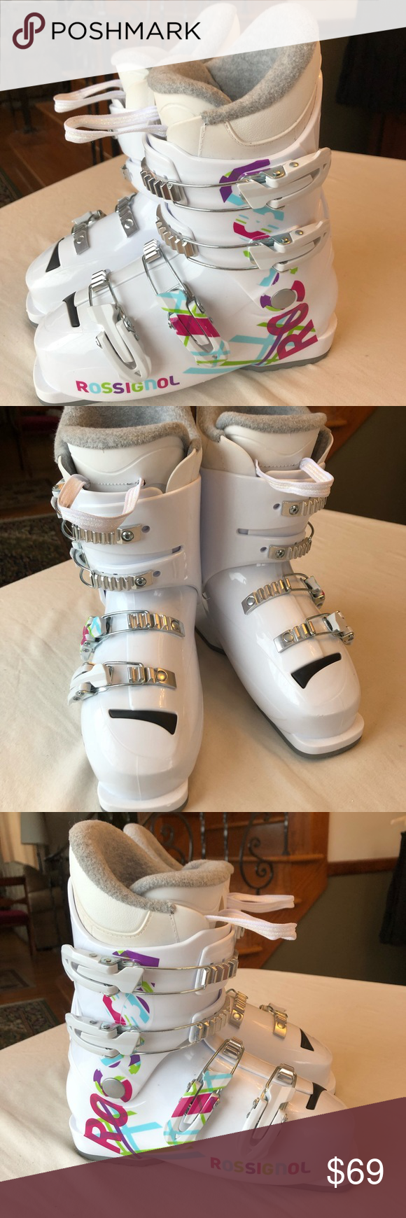 Rossignol Girl S Youth Ski Boots Size 23 5 White With Pink And Blue Decoration Equivilant To Size Youth 4 5 See Chart Worn Ski Boot Sizing Ski Boots Boots