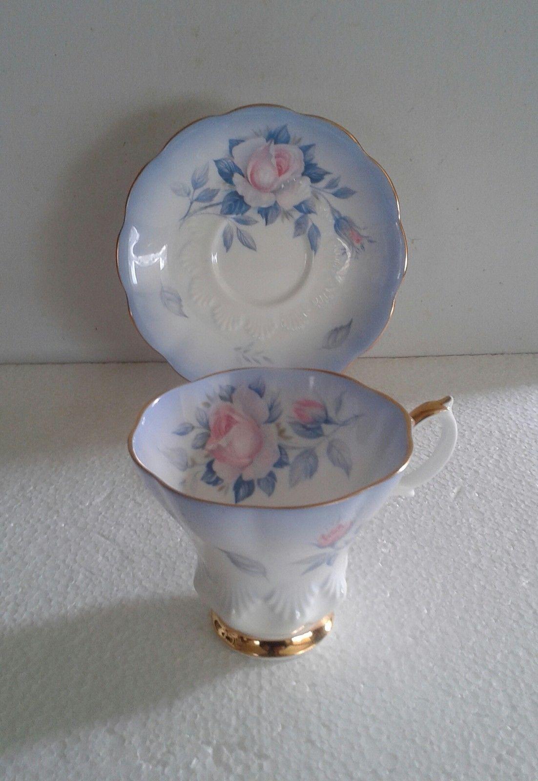 Royal albert bone china tea cup amp saucer winsome pattern ebay - Stunning Royal Albert Sky Blue Large Pink Rose Tea Cup And Saucer Set Ebay