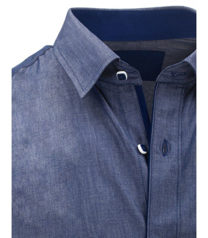 060057af6a86 Pánska modrá elegantná košela s krátkym rukávom