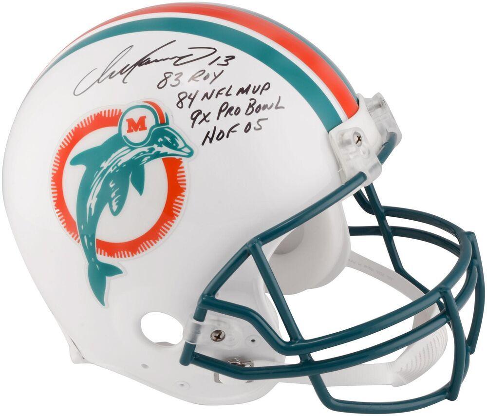 Dan marino autographed riddell throwback helmet w inscs