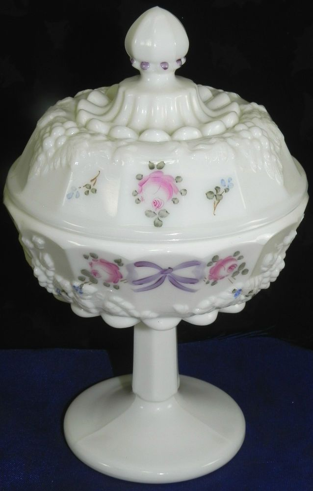 This Is A White Milk Glass Color Hand Painted With Roses