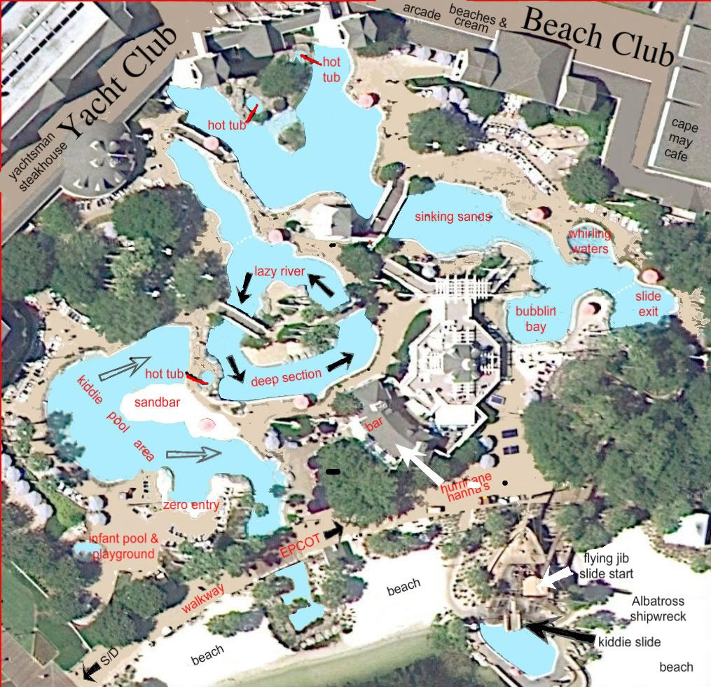 Extremely Detailed Map Of Stormalong Bay At Disney S Yacht And Beach Club Resort