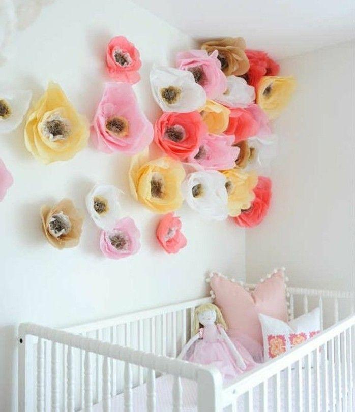 Fabriquer Une Fleur En Papier De Soie 67 Idees Diy Remarquables Fleurs En Papier Deco Chambre Enfant Chambre De Petites Filles