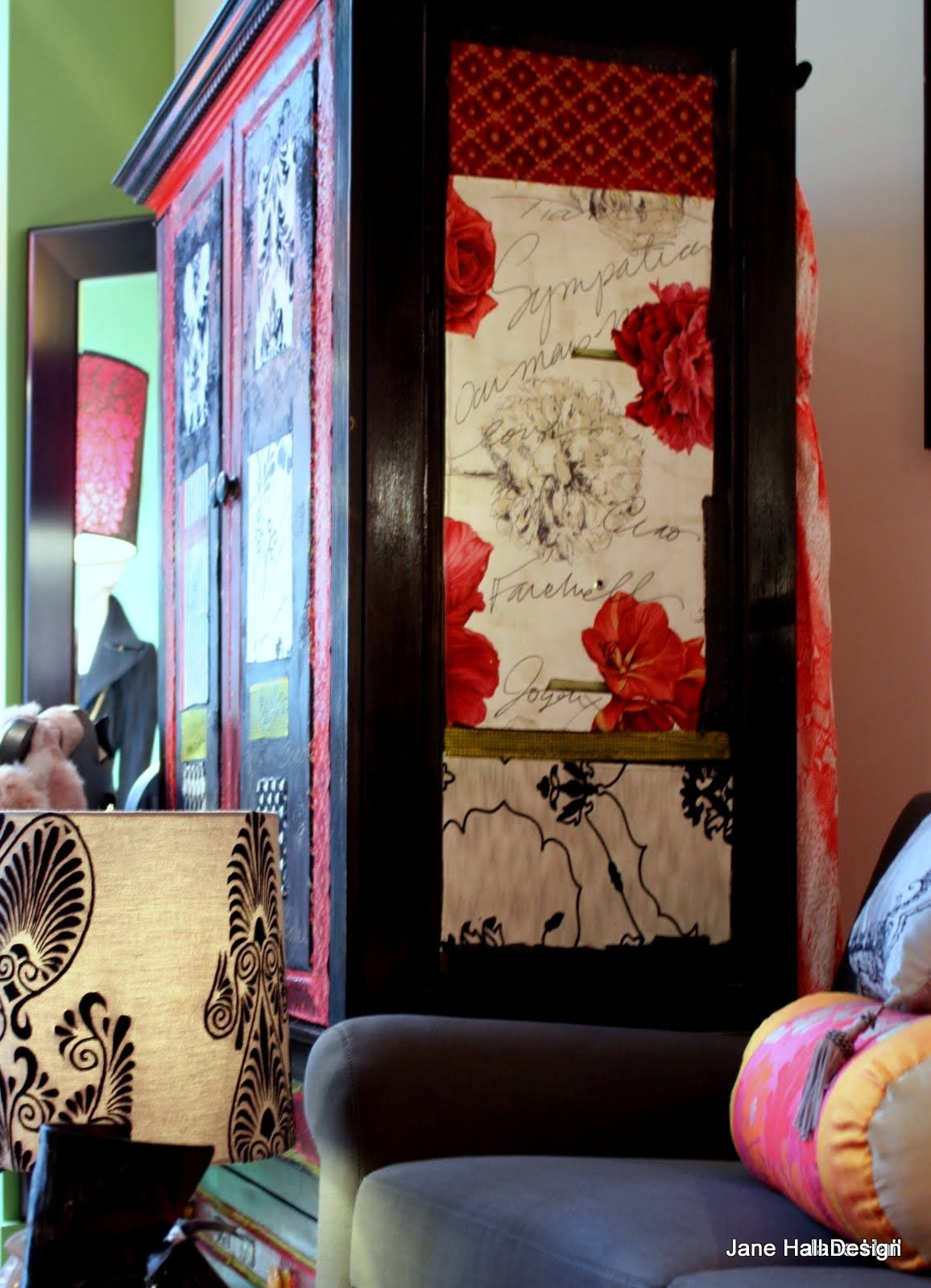 Decoupaged Armoire In Designers Guild Fabric