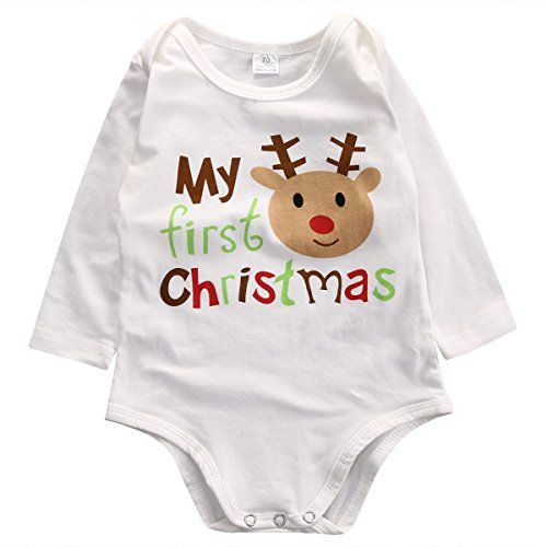Festive Threads Unisex Baby Retro Sweater Design First Christmas T-Shirt Romper Lt. Blue, 18 Months