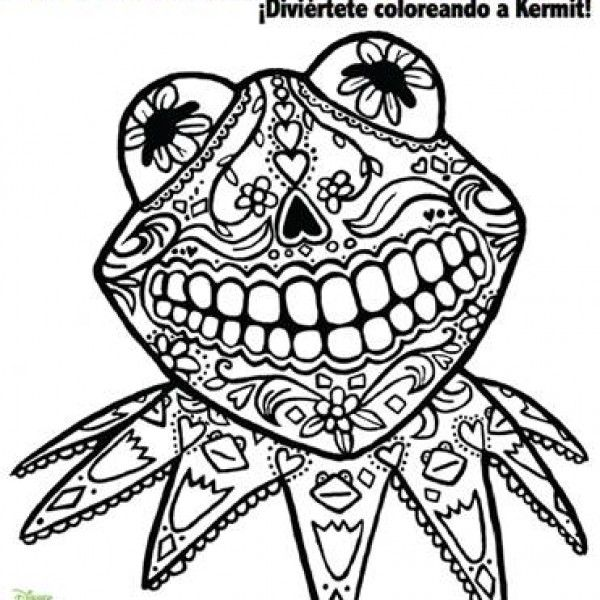 day of dead coloring page starring kermit frog fab find Coloring
