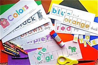 unscramble color words and glue them in correct order  Makes