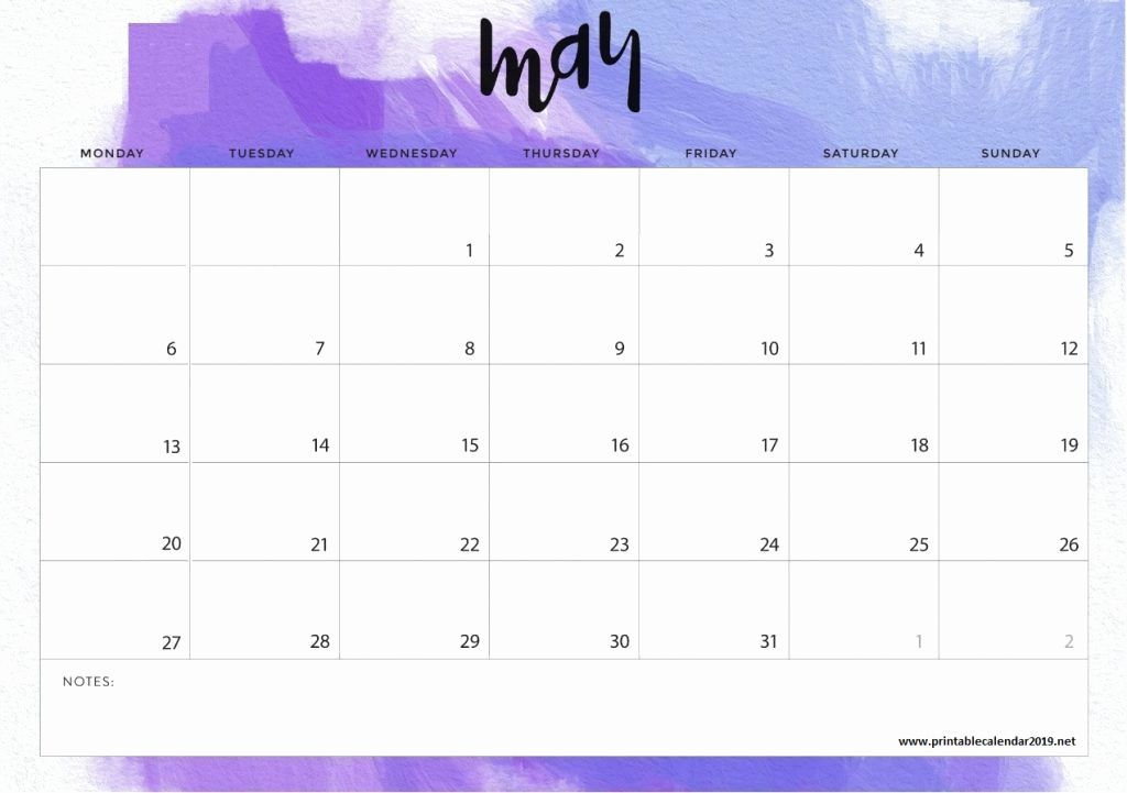 May Calendar 2019 Printable Notes And To Do List Calendar 2019