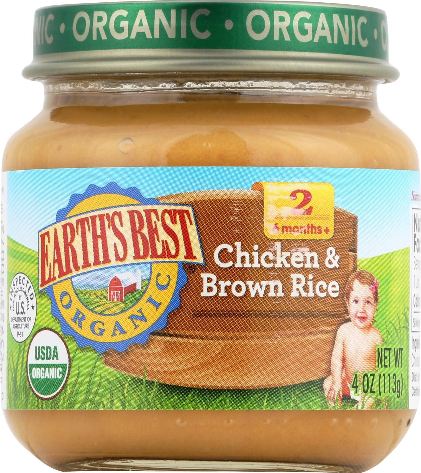Earth's Best Organic Chicken And Brown Rice Baby Food