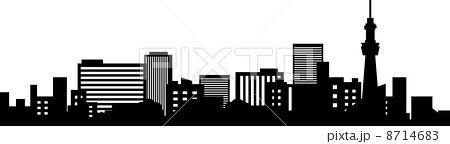 都会のビル群のシルエット ビル イラスト 都会 ビル
