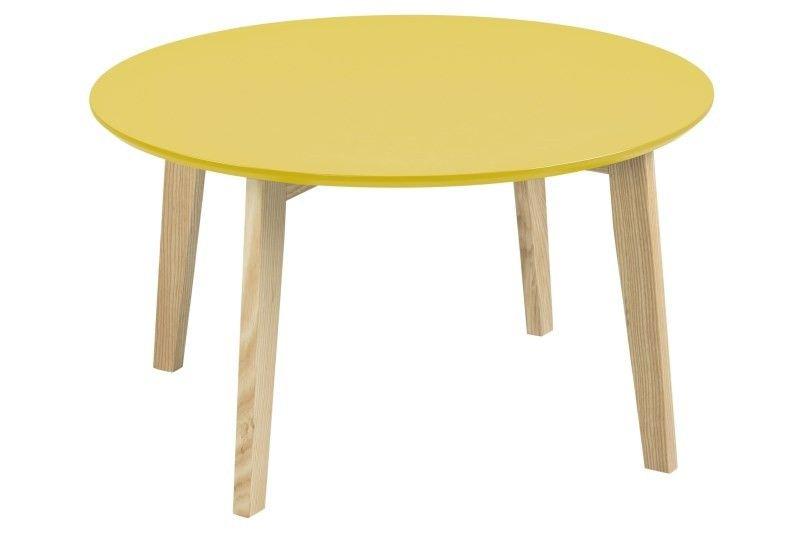 Clikx Sofabord - Karrygult sofabord i enkelt, nordisk design. Bordet har fine ben i massiv ask, der er med til at give det lækre skandinaviske look.