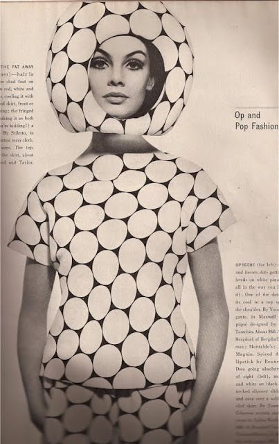 """""""Op and Pop Fashion"""" from Harper's Bazaar, April, 1965"""