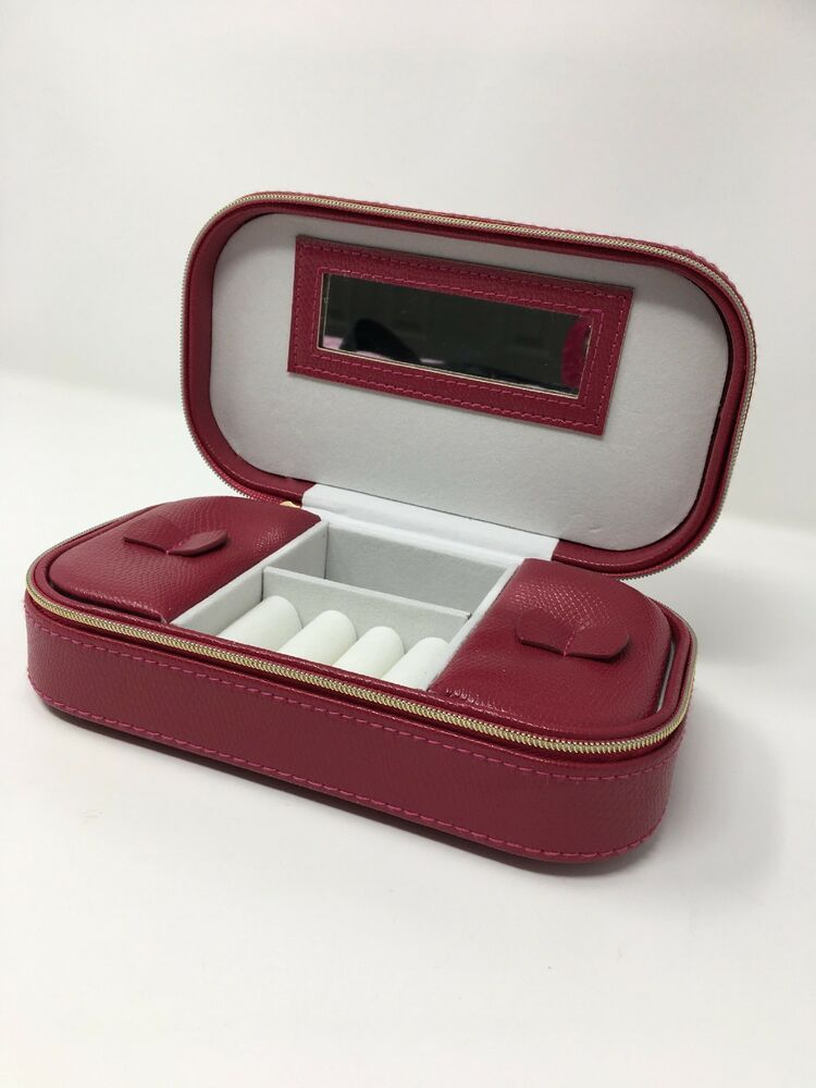 Details About Jewelry Case Box Burgundy Faux Snakeskin Divided