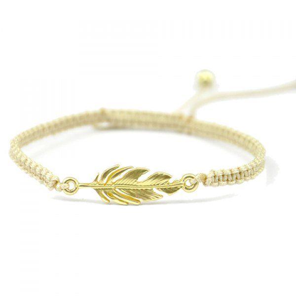 Stylish Bead Leaf Knitted Women's Bracelet #women, #men, #hats, #watches, #belts, #fashion, #style