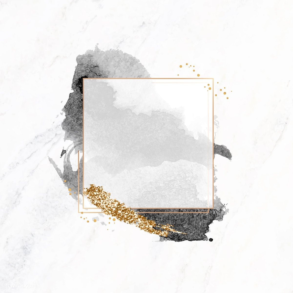 Download premium illustration of Gold square frame on black watercolor #goldglitterbackground