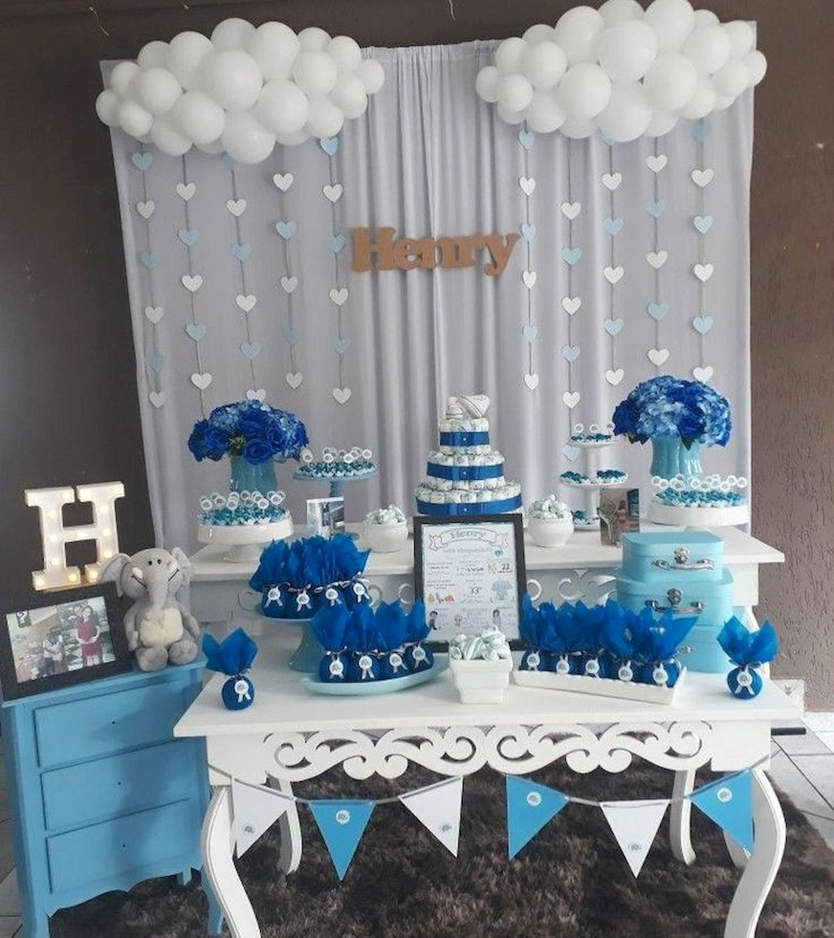 50 Awesome Baby Shower Themes And Decorating Ideas For Boy Baby Shower Balloons Baby Shower Diy Decoracion Baby Shower
