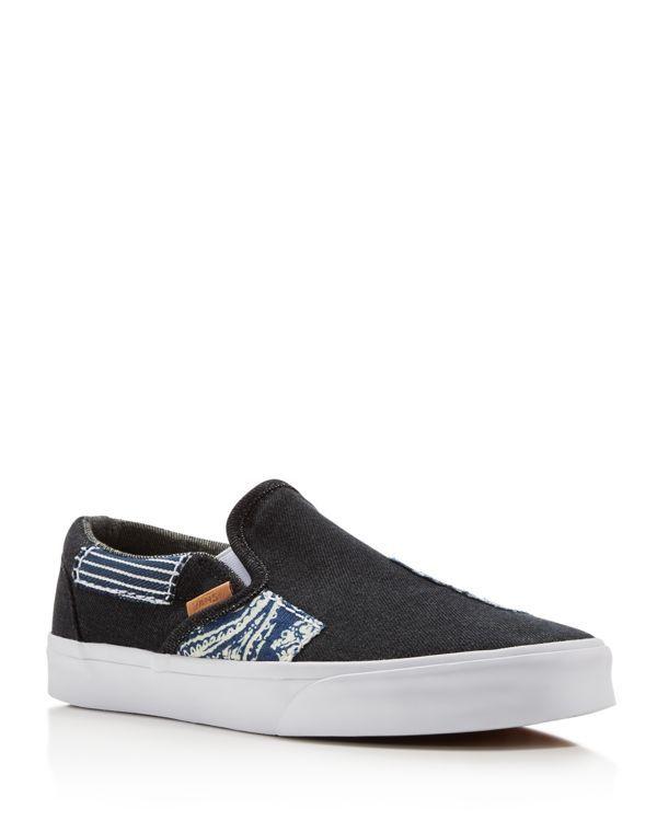 fb00ccfb3a4281 Vans Classic Ca Denim Patchwork Slip On Sneakers
