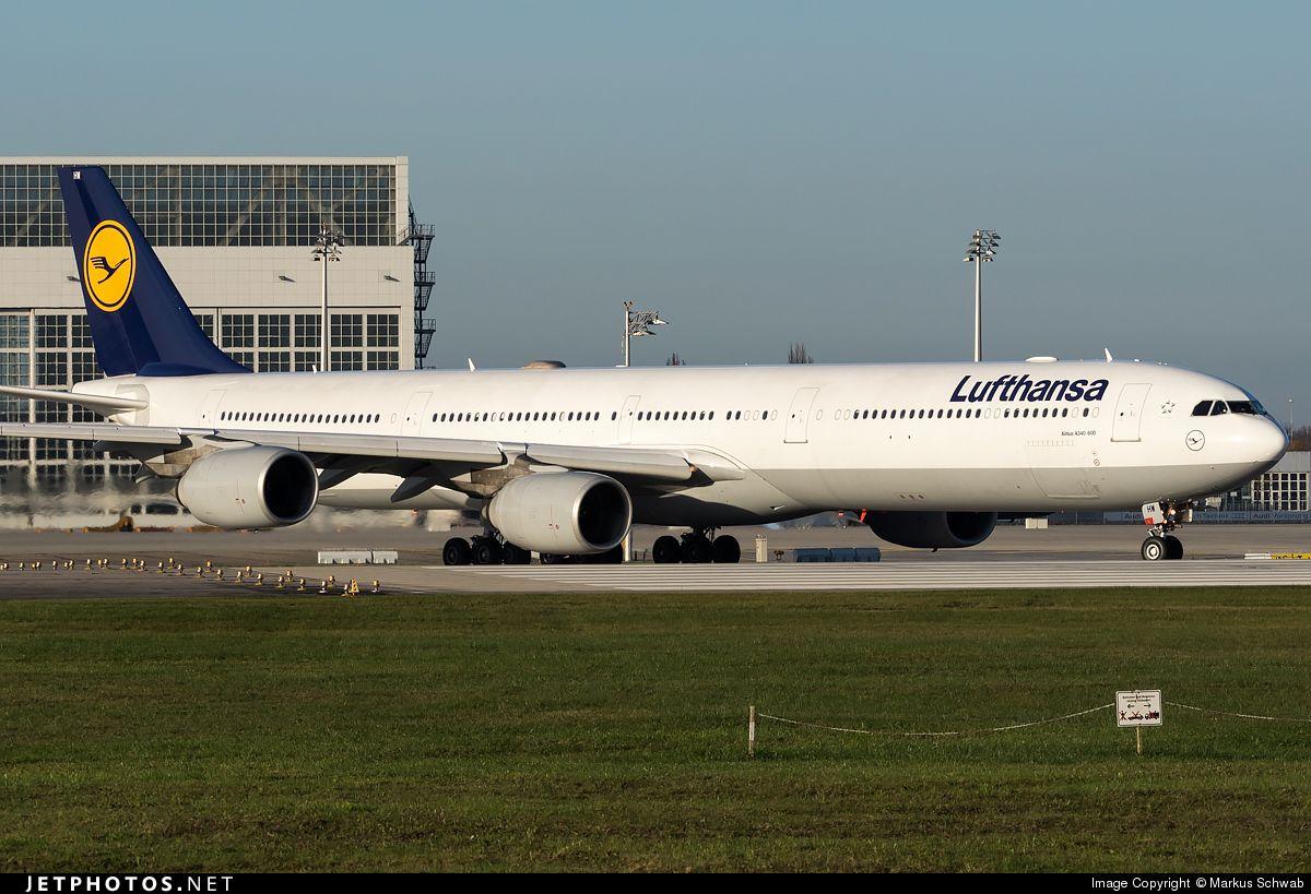 Lufthansa Airbus A340-642 (registered D-AIHI) taxiing at München-Franz Josef Strauß (EDDM)