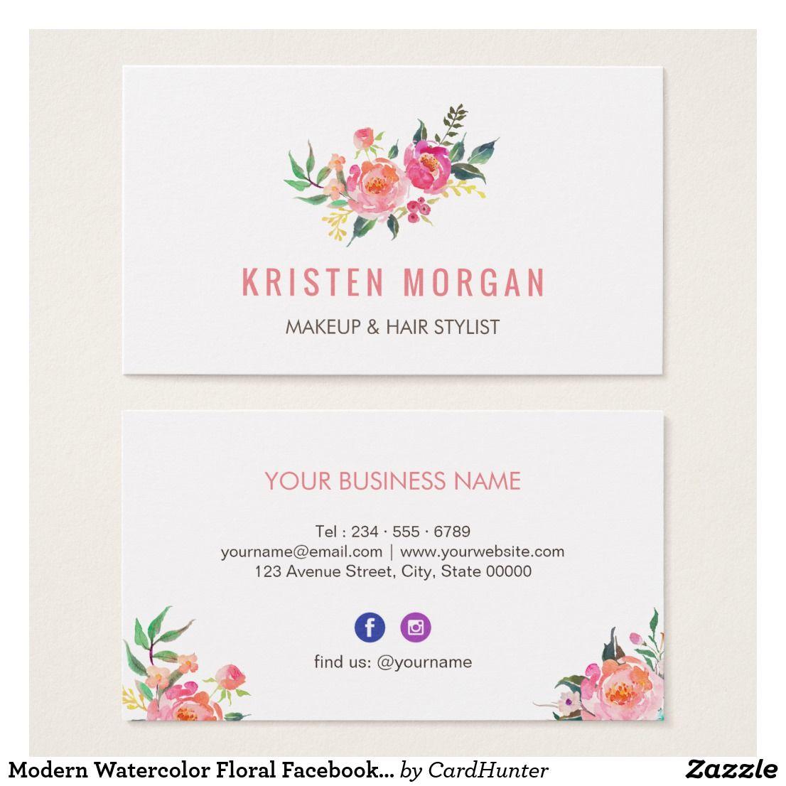 Modern watercolor floral facebook instagram icon business card modern watercolor floral facebook instagram icon colourmoves