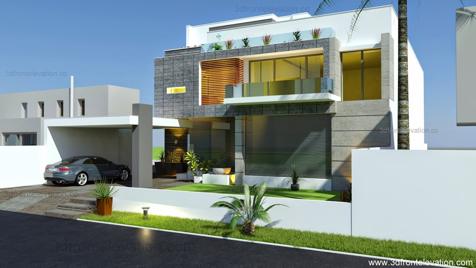 3d front elevation: beautiful modern contemporary house