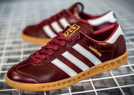 eab2c9fe3e67 Adidas Hamburg Made in Germany trainers in blue and burgundy leather ...
