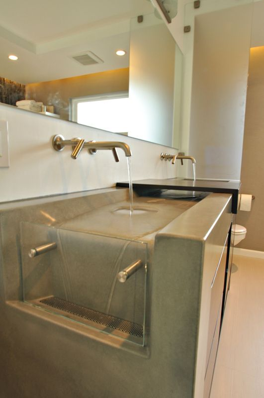 Bathroom Designer Chicago Enchanting Waterfall Concrete Sinkformed Stone Design  Designer Concrete Inspiration Design