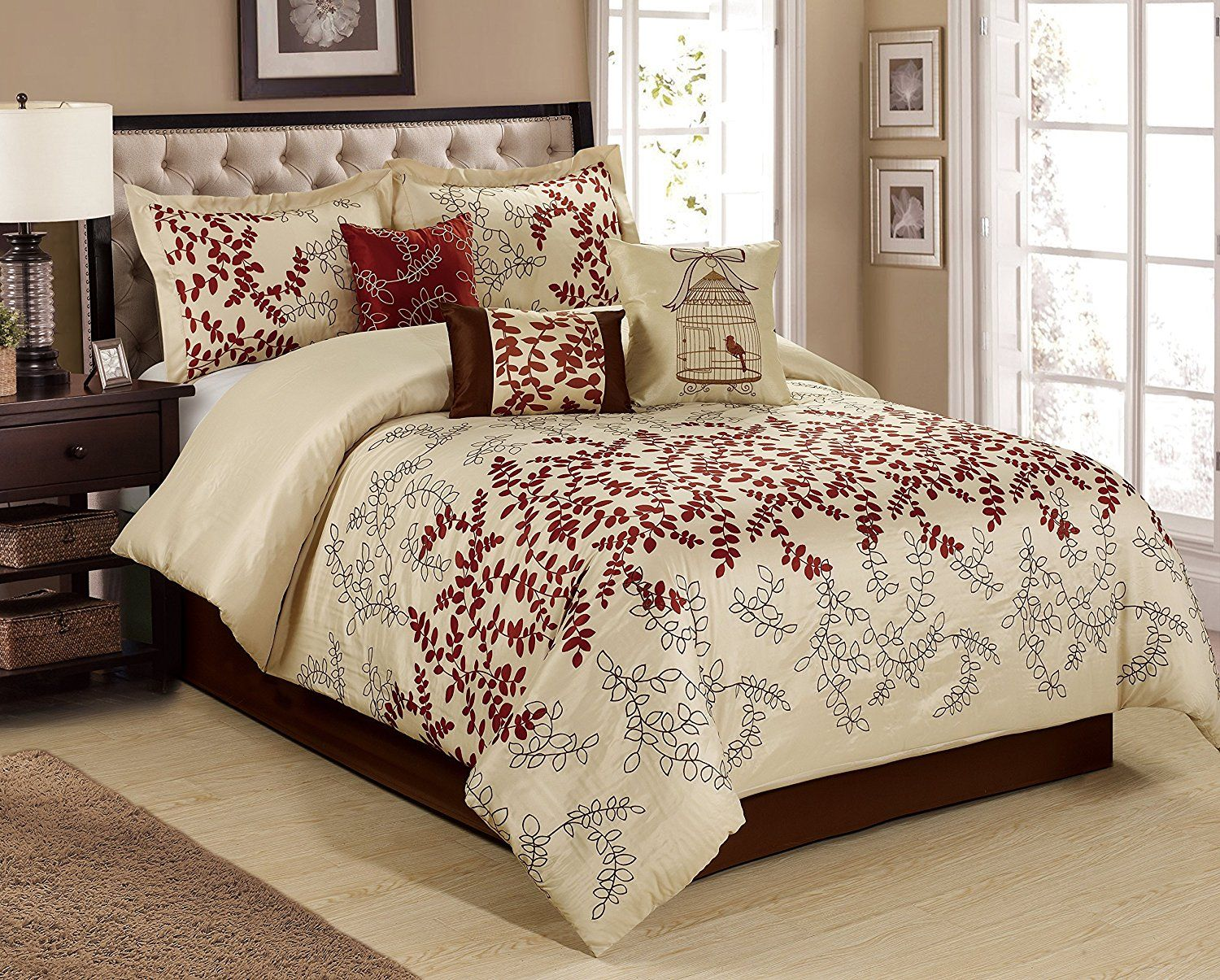 Burgundy Bedding Sets 7 Piece Saratoga Full Of Leaves Embroidered And Print Comforter Set Queen King Cal King S Comforter Sets Bedroom Sets Burgundy Bedroom