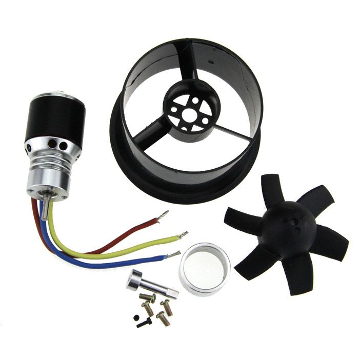 64mm Duct Fan + 4800KV Brushless Motor. Motor power: 290W - Working voltage: Min. 3.7V; Max. 14.8V - Can be use