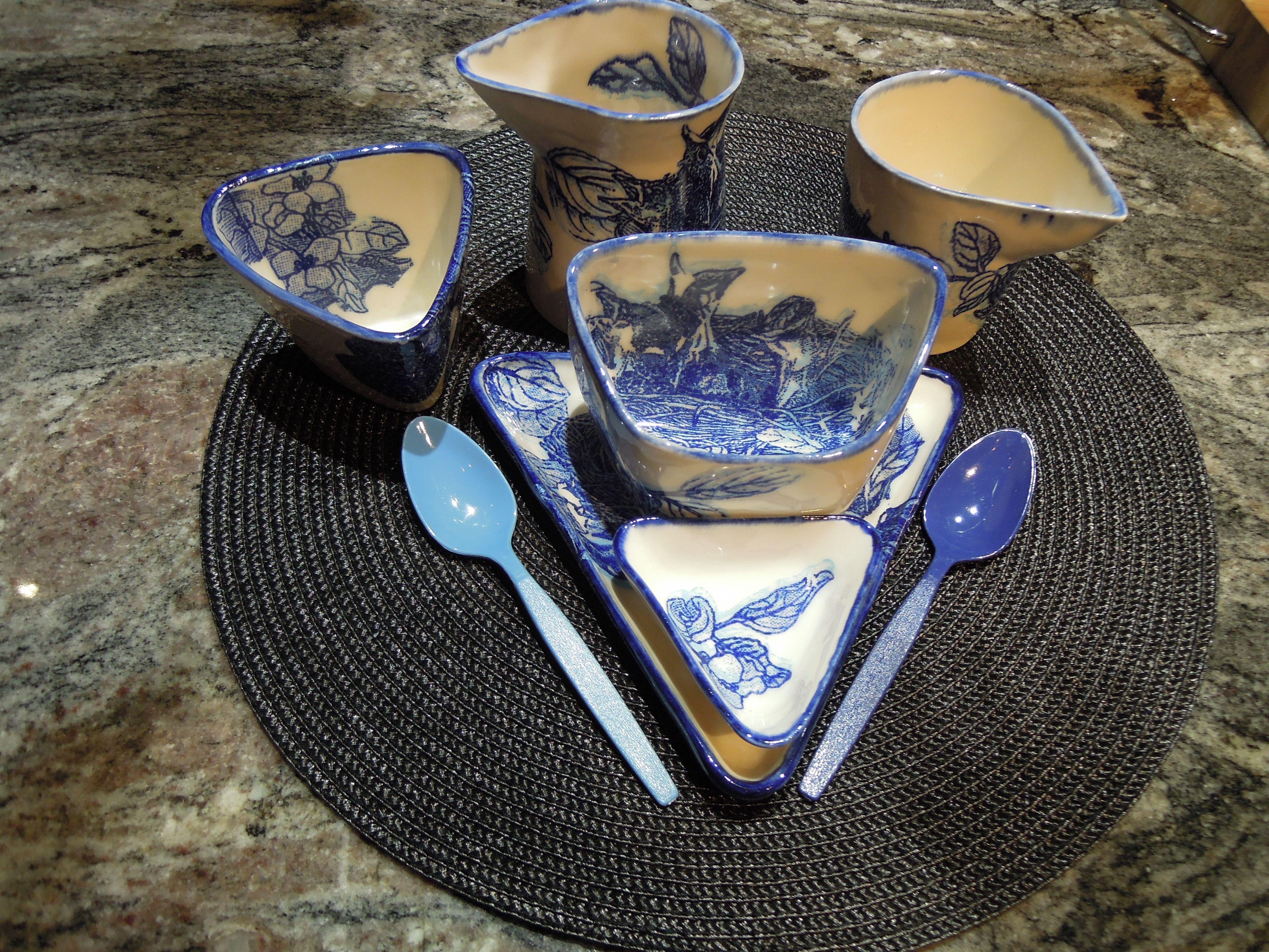 view of dinnerware set up