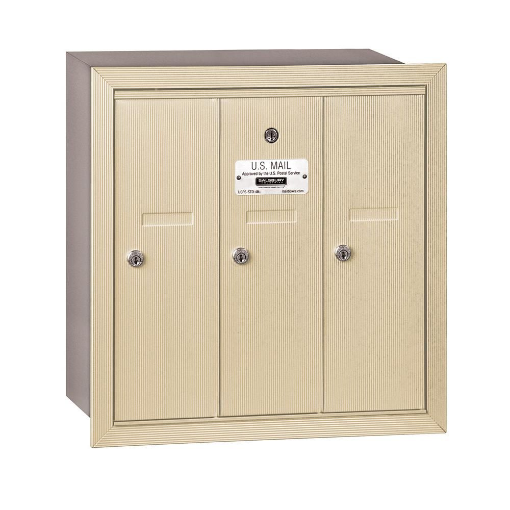 Salsbury Industries 3500 Series Sandstone Recessed Mounted Private Vertical Mailbox With 3 Doors Brown Cluster Mailboxes Locker Storage Aluminium Doors