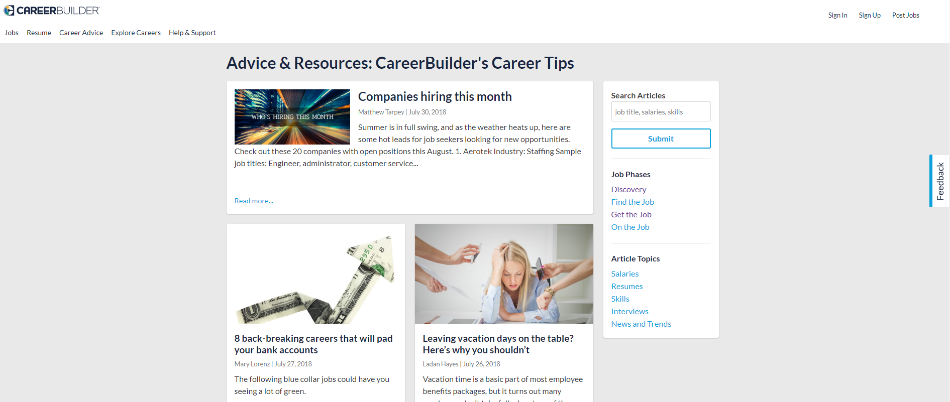 Job Search on the Internet: a selection of news