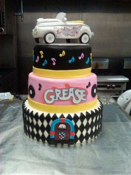 """This """"Grease"""" cake is supreme!  My favorite musical set in the 50's!"""