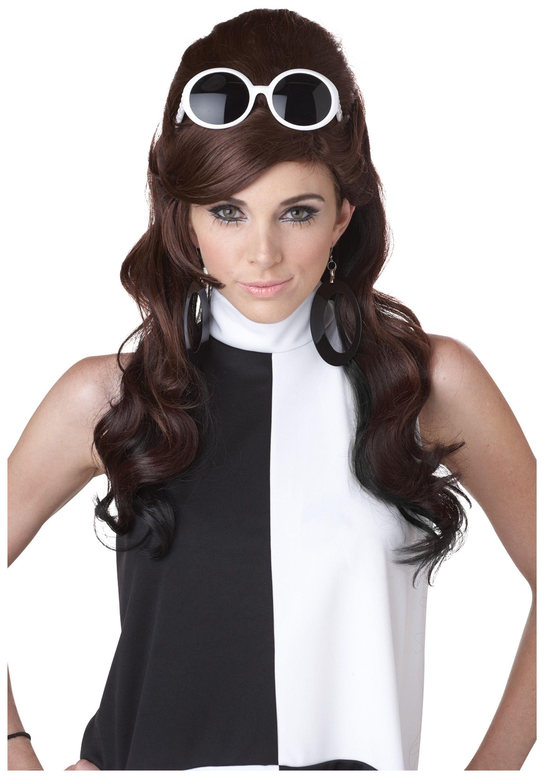 Black /& White Wig Ladies Halloween Fancy Dress 60s 70s Adults Costume Accessory