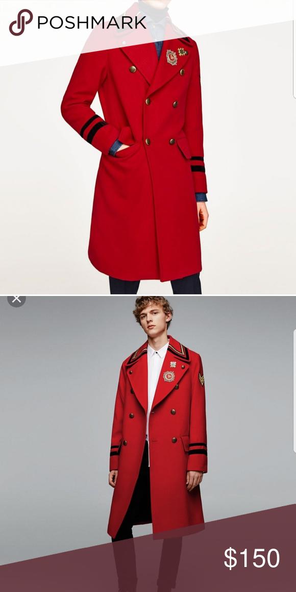 2433d59d NWT Zara Red Military Men's Coat Size L Amazing beautiful coat Zara Jackets  & Coats Military & Field