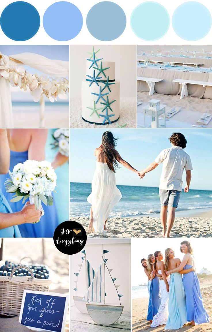 Beach Wedding Shades Of Blue Wedding Colors Color Palette With