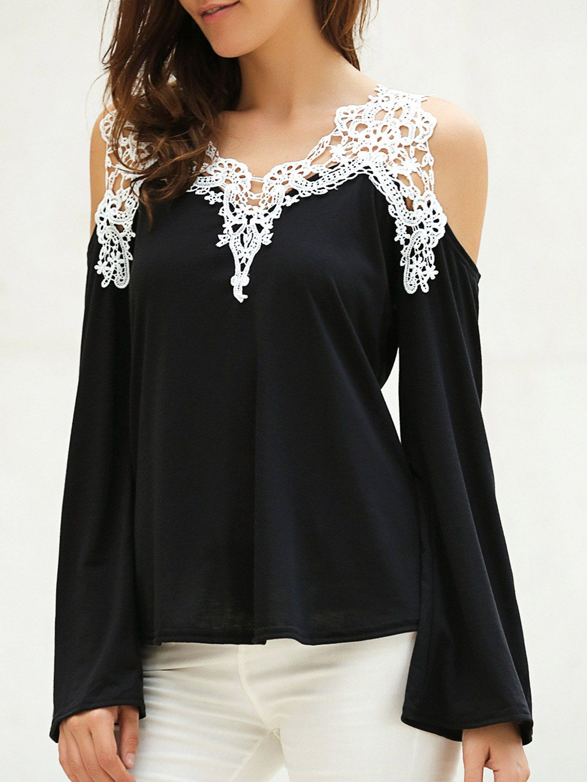 4891a1717 Love Love LOVE this Top! Sexy Black and White Lace Stylish V-Neck Long  Sleeve Cut Out Spliced Women s T-Shirt  Black and White  Lace Crochet   Cold Shoulder ...