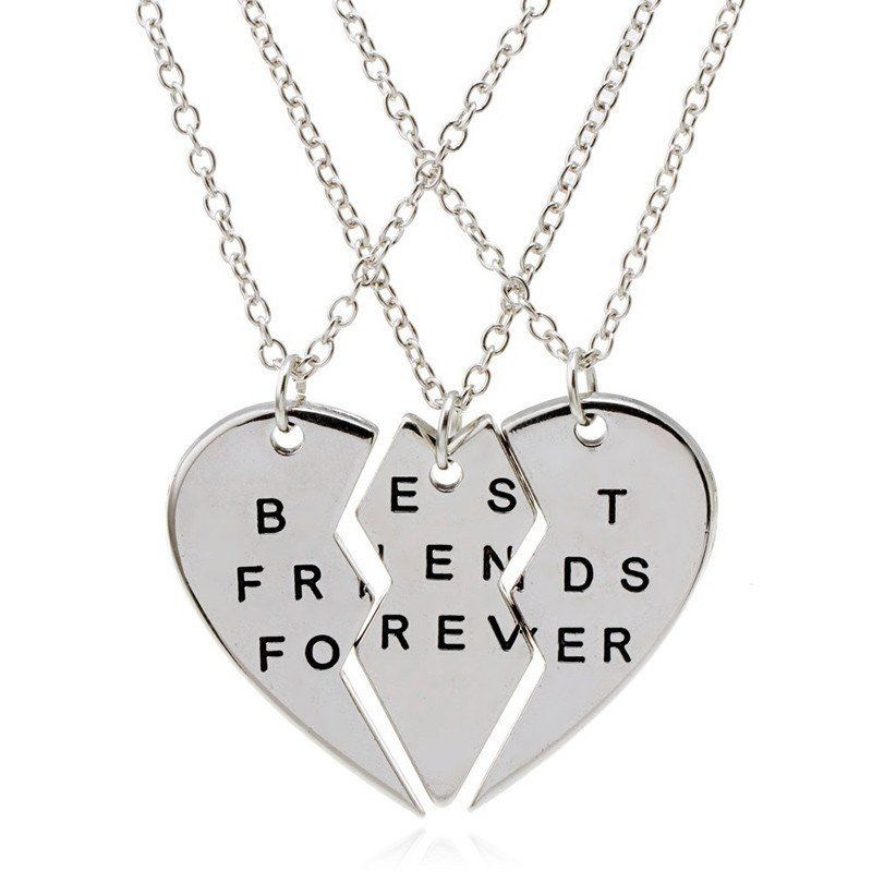 3 Parts Split Heart Best Friends Forever Bff Gift Best Friends ...