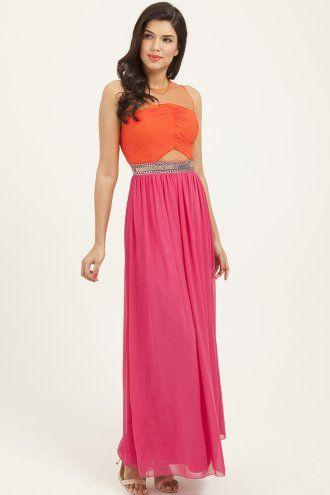 Little Mistress Orange & Pink Contrast Embellished Mesh Maxi Dress
