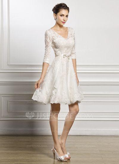 Corte A Princesa Escote en V Hasta la rodilla Satén Encaje Vestido de novia  con Lazo(s) (002056986) 7c63ec9f98d5