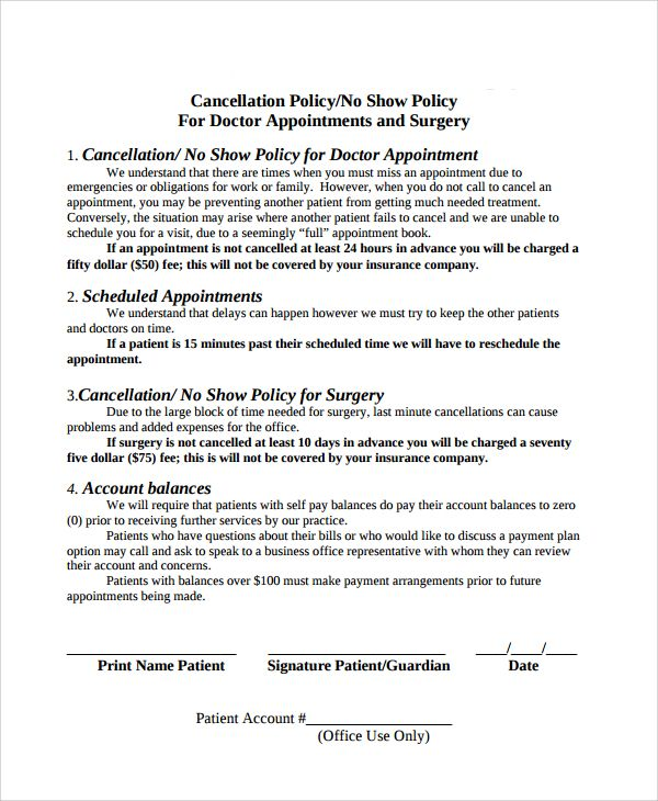 Cancellation Policy Template Free Documents Download Pdf Insurance